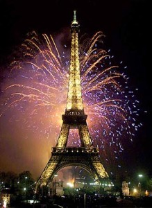 FIREWORKS BURST FROM THE EIFFEL TOWER IN PARIS TO MARK THE NEW MILLENNIUM